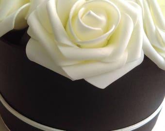 Beautiful vintage black and cream ivory rosebox