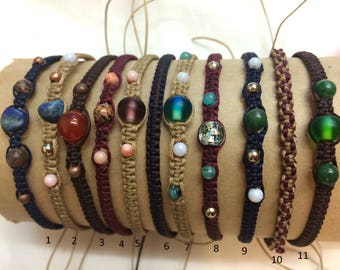 Woven Bracelets - high quality waxy cord, glass and natural stone beads