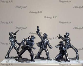 Tin Toy Soldiers Set of Russian Marine 5 infantry fleet Second World War Russian army 40mm 1/43 Scale Metal Miniature Collectible Figure
