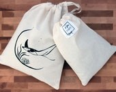 Bag in bulk, reusable cotton bag, handprinted, zero bag waste, manta ray