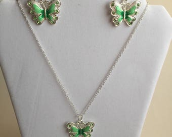green butterfly earrings and necklace set,