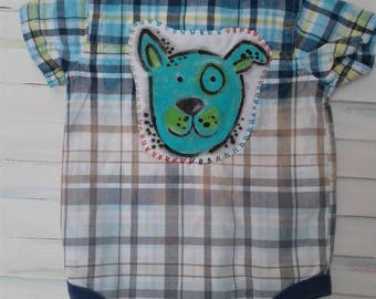 6-9 month baby onesie, puppy onesie, plaid onesie, ombre baby clothes, bleached, dipped dyed, hand painted, patch, embroidery, up cycled