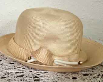 80's Vintage Woven Straw Hat