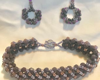 A20 Bracelet & Earrings opaque purple
