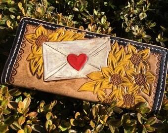 Sunflower Envelope & Sword Leather Wallet