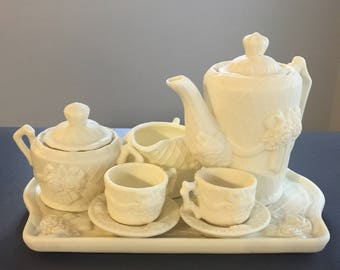 Vintage Ceramic 6 Piece Tea Set with Tray
