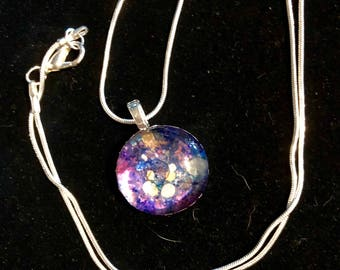 Multi colored Blue Purple pink gold silver multi Alcohol Ink Glass charm Necklace with 24 inch snake chain