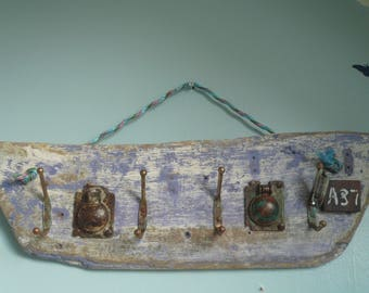 Hand made from driftwood 'Set of 4 coat hooks on  boat shaped driftwood piece'