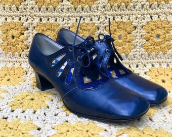 Vintage 1960's Lace Up Mary Janes Leather Navy Blue Size 8