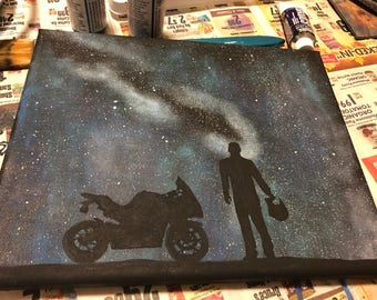 Motorcycle Ride to the Milky Way Space Silhouette Painting
