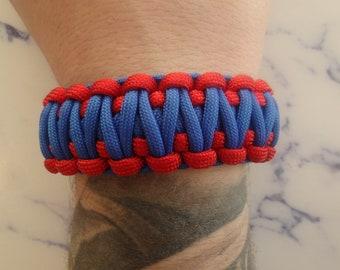 Paracord 550 survival bracelet blue and Red