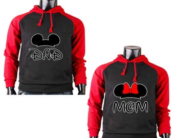 Two Color Hoodies for Mom Minnie and Dad Mickey Mouse Disney Raglan Black-Gray Pullover Hooded Sweatshirt