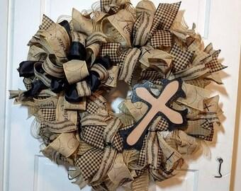 Cross and music wreath