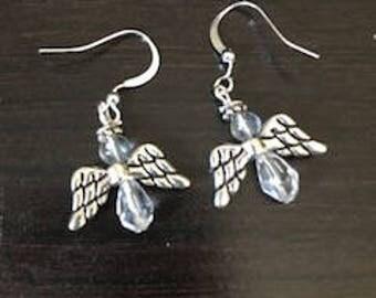 glass bead angel earrings