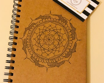 A5 lined Kraft notebook with hand drawn Mandala