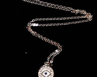 Silver Rhinestone Evil Eye with Blue Crystal Pendant Necklace