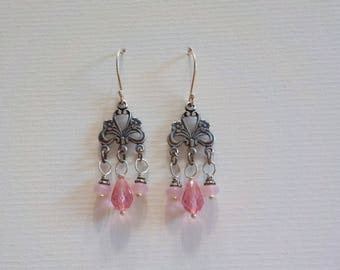 Pink Chandelier Czech Glass Bead earrings