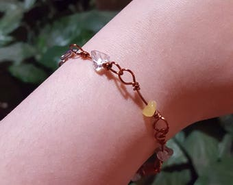 Natural Stone Chip Wire Wrapped Link Bracelet