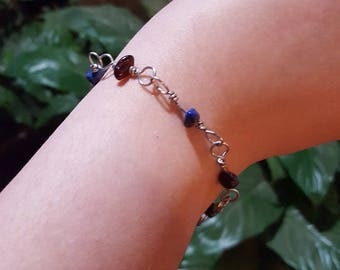 Garnet and Lapis Lazuli Natural Stone Chip Wire Wrapped Link Bracelet
