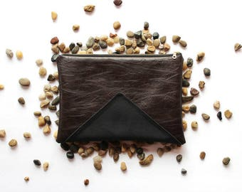 Chocolate Vegan Leather Clutch with Triangle