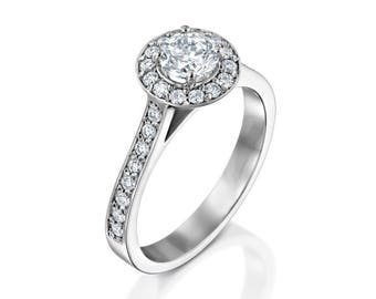 TCW 0.93 Diamond Engagement Ring Lab Grown Diamond 14K White gold