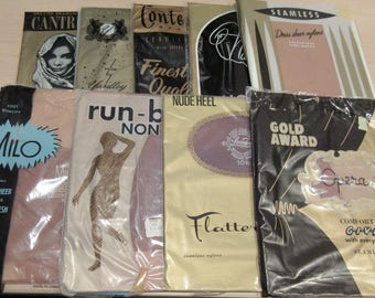 10 different pairs VINTAGE NYLON STOCKINGS - Size 10 1/2
