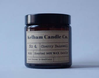 Cherry Bakewell Amber Soy Wax Jar Candle