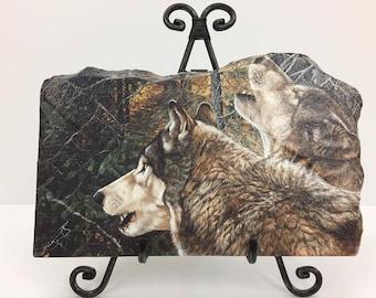 Howling Wolves Handmade Flagstone