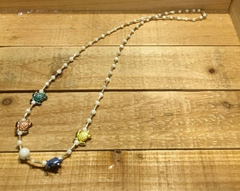 Sea Turtle metal beaded necklace spring colors