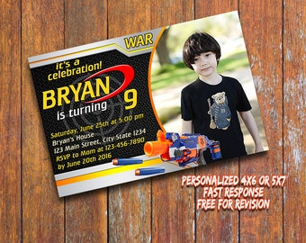 Nerf Gun Invitation,Nerf Gun Birthday Invitation,Nerf Gun Printable,Personalized Birthday Invitation,Nerf Gun
