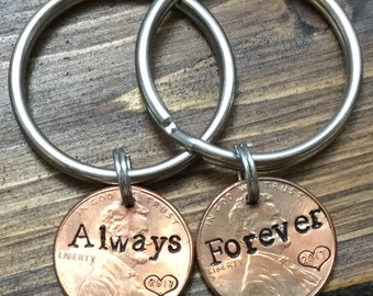 Forever and always couples keychains