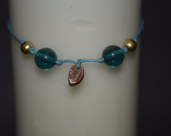 Copper and bead corded bracelet
