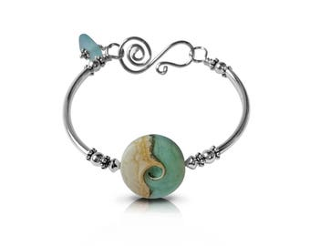 Beach Bracelet, Sea Glass Jewelry, Sterling Silver, Blue Jewelry, Ocean Wave Jewelry, Nautical Bracelet, Gift for Her, Gift for Girlfriend
