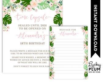 Tropical Time Capsule / Luau  Time Capsule / Flower  Time Capsule / Pink Green  Time Capsule / Boho Chic Botanical  *Digital Printable  TP01