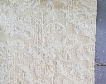 """Large White and Butterscotch Damask curtain panel. Heavy damask cotton curtain panel. Floral damask window curtain. 52 x 72""""."""
