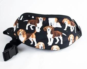 Beagle fabric - Cute Fanny Pack - Hip Waist Bag - 2 Zippers