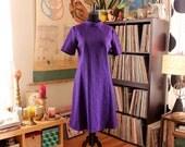 purple 1960s shift dress, womens xl plus size vintage AS IS SALE
