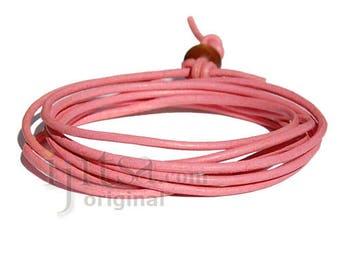 2mm pink leather adjustable surf wrap bracelet