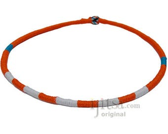 Leather Necklace wrapped with Orange, White and Turquoise Hemp