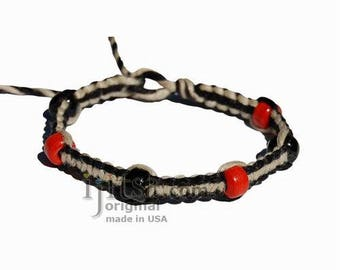 Black and natural flat hemp bracelet or anklet with black and red glass beads
