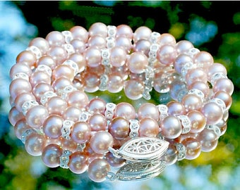 """Lavender freshwater round pearl and Swarovski white crystal 17"""" necklace, hand-knotted AAA 6.5-7mm round pearl, .925 sterling filigree clasp"""