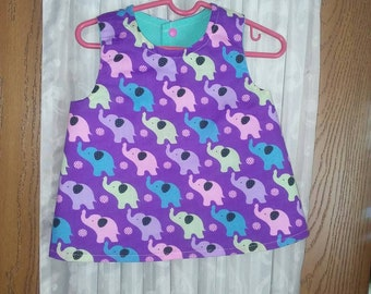 Girls 3T reversible cotton top, snap closure and matching lined elastic waist shorts. Multicolored elephants   Turquoise reverse side.