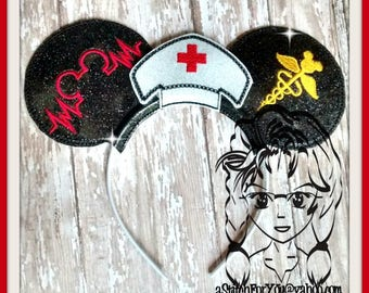 NuRSE Hat Inspired Set (3 Piece) Mr Miss Mouse Ears Headband ~ In the Hoop ~ Downloadable DiGiTaL Machine Emb Design by Carrie