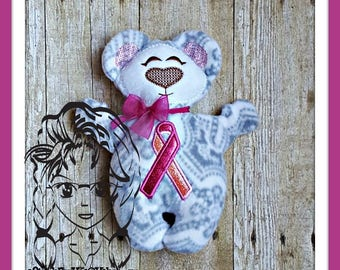 BeAR AWARENeSS Cancer Military Applique 3D Plush Softie Toy ~ In the Hoop ~ Downloadable DiGiTaL Machine Embroidery Design by Carrie