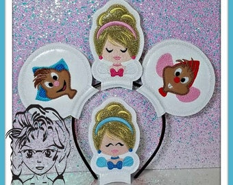 CiNDY & MiCE PrinCESS Inspired (4 Piece) Mr Miss Mouse Ears Headband ~ In the Hoop ~ Downloadable DiGiTaL Machine Emb Design by Carrie