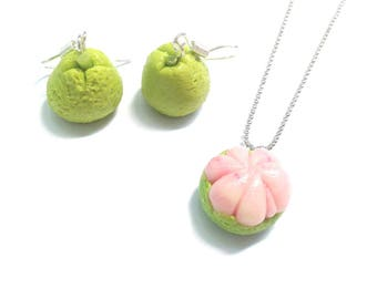 Set of jewels / Necklace + Earrings / MISS GUAVA, miniature guava, light green, pink by The Sausage