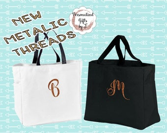 NEW! Rose Gold, Silver, Gold, Copper Personalized Bridesmaid Gift Tote Bag Monogrammed Tote, Bridesmaids Tote, Personalized Tote