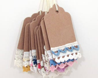 10 Shabby Gift Tags - Baby Shower Favors - Mixed Media Tags - Vintage Lace Tag - kraft tag - embellished tag - Vintage Tags - Hang Tags