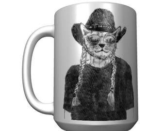 Willie Cat Mug, Willie Nelson Cat Mug, Willie Nelson Fan, Cat lovers mug, Willie Nelson, Funny Cat Mug, Hand Drawn
