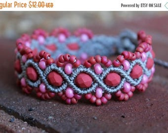 SALE Micro-Macrame Beaded Bracelet - Pink and Grey